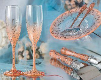 Set de bodas de plata copas y servidor de la torta de