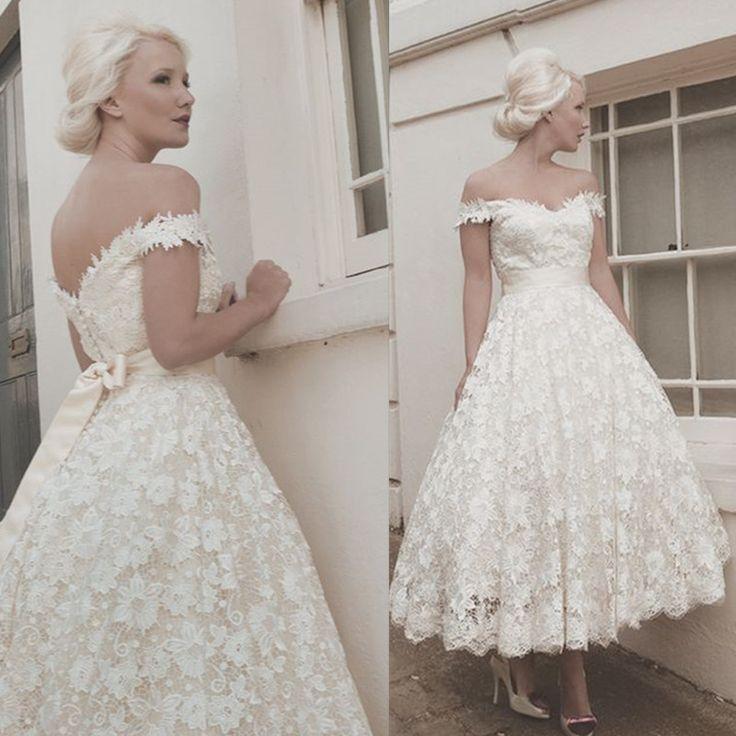 Modest Off The Shoulder Tea Length Wedding Dress 2017 Handmade Vestido De Noiva Lace Bridal Gowns Shop Online China