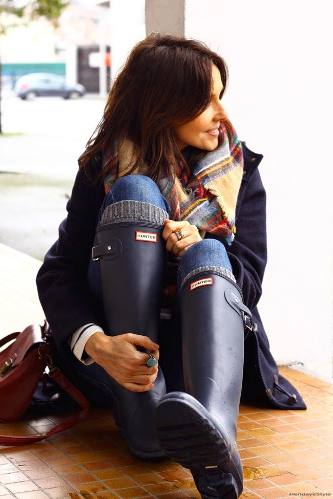 Hunter boots look                                                       …