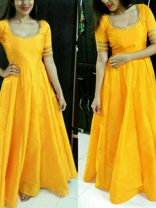 huge selection of ad1b3 ed7d9 Trendy Partywear Yellow Colour Full Stitched Taffeta Silk Gown Stylish  Kurtis Design, Silk Kurti,