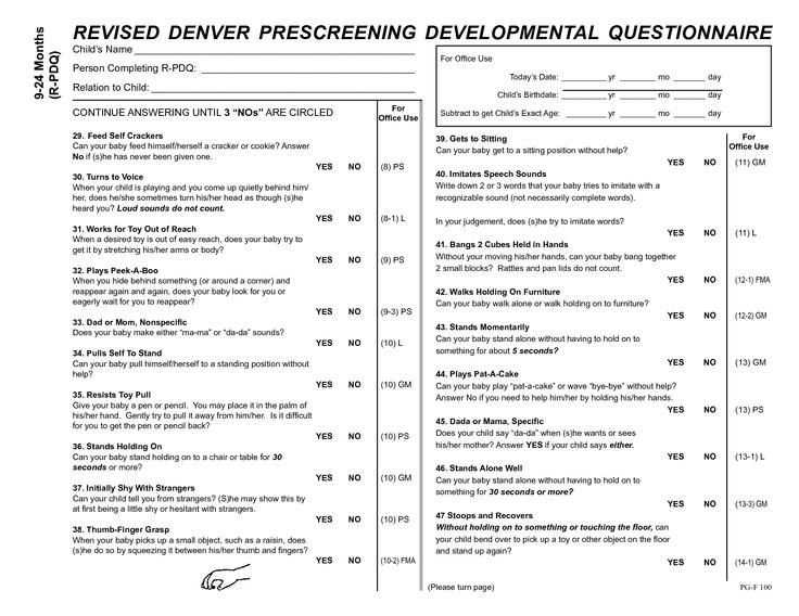 Denver Prescreening Developmental Questionnaire Ii