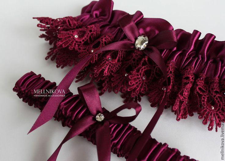 """Купить Комплект подвязок """"Marsala"""" - бордовый, марсала, marsala, свадебные аксессуары, подвязка невесты, подвязка"""