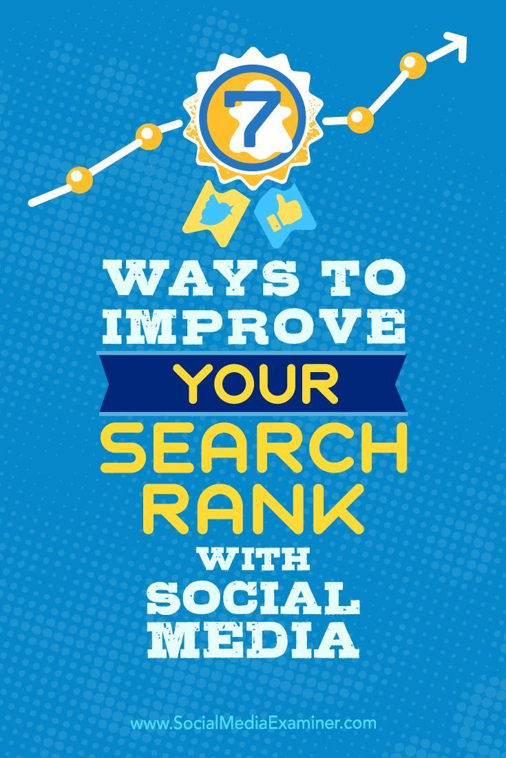 Do you want to improve the search rank for your website or blog?  Social media and search engine optimization (SEO) are undoubtedly connected and will only become more interdependent in the future.  In this article, youll discover seven ways you can use