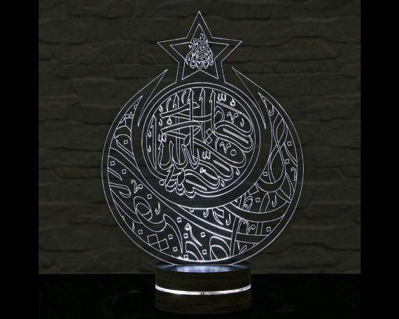 Crescent and Star Shape, Arabic Writing, Islamic Art, Islamic Decor, 3D LED Lamp, Calming Light, Plexiglass Lamp, Decorative Lamp, Art Lamp by ArtisticLamps