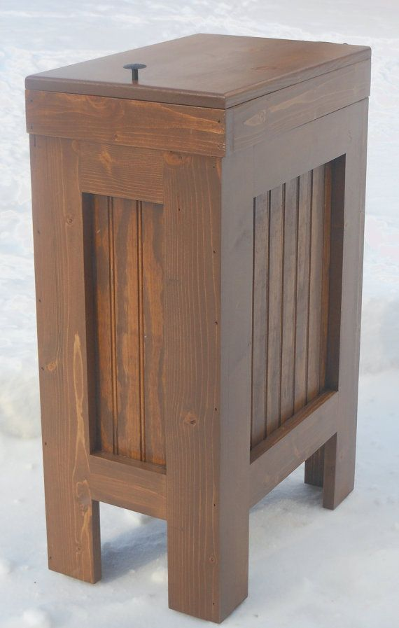 Great Wood Trash Bin, Kitchen Garbage Can, Wood Trash Can, Recycle Bin, Dog Food  Storage, 13 Gallon, Walnut Stain, Pine , Rustic