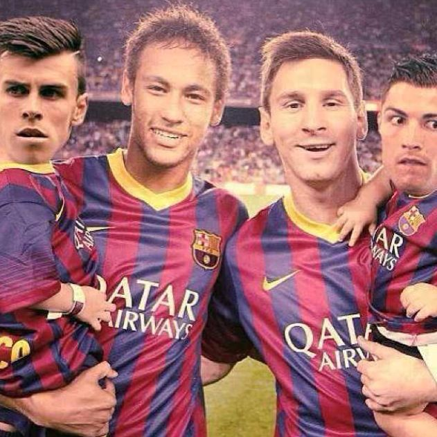 Neymar Jr and Lionel Messi carrying Bale and Cristiano ... | 631 x 631 jpeg 80kB