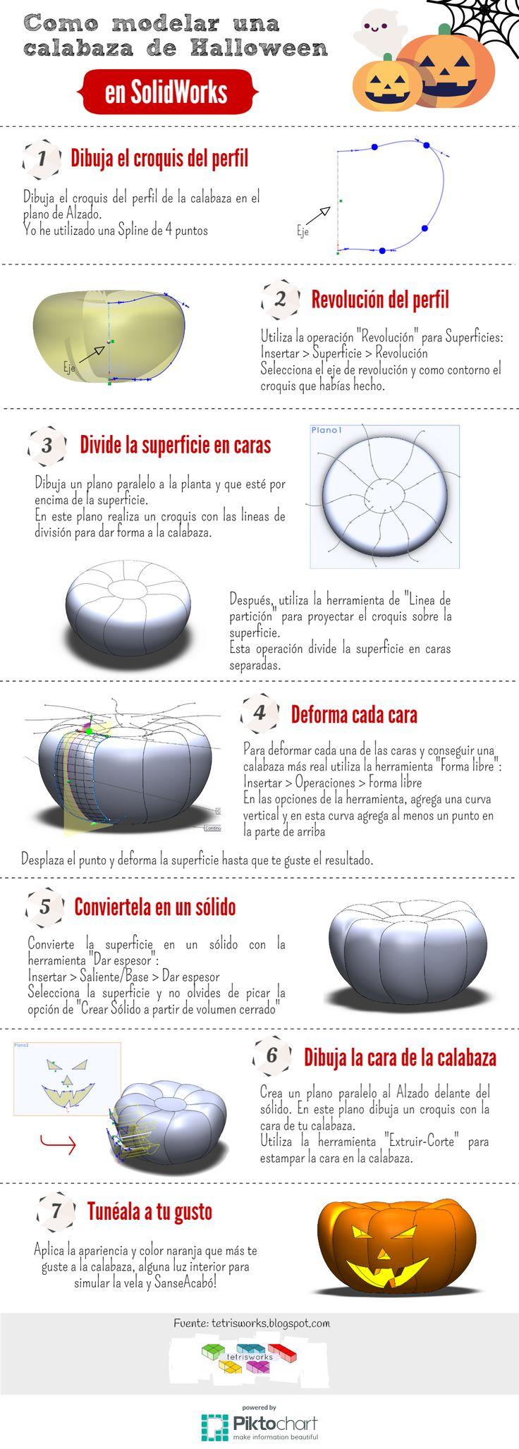 Cómo modelar una calabaza de Halloween con Solidworks #tutorial #infografía #solidworks