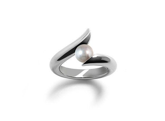 Elegant White Pearl Ring Tension Set in Steel by Taormina Designs, $195.00