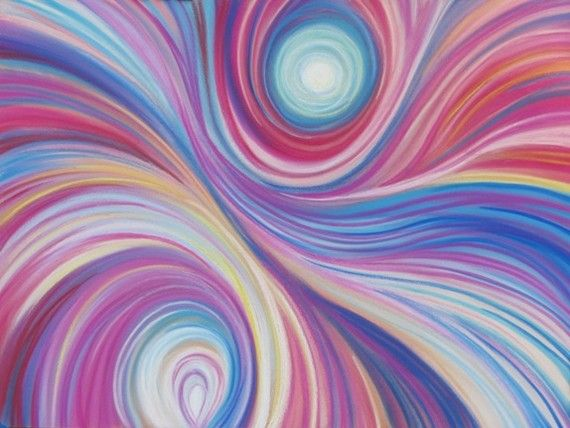 Abstract ORIGINAL Pastel Blue & Pink Streaks by OlenaBacasArt, $45.00