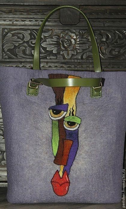 """Женские сумки ручной работы. Валяная сумка с абстрактным рисунком """"Андрюша"""". Perisher. Ярмарка Мастеров. Сумка женская, подарок девушке"""