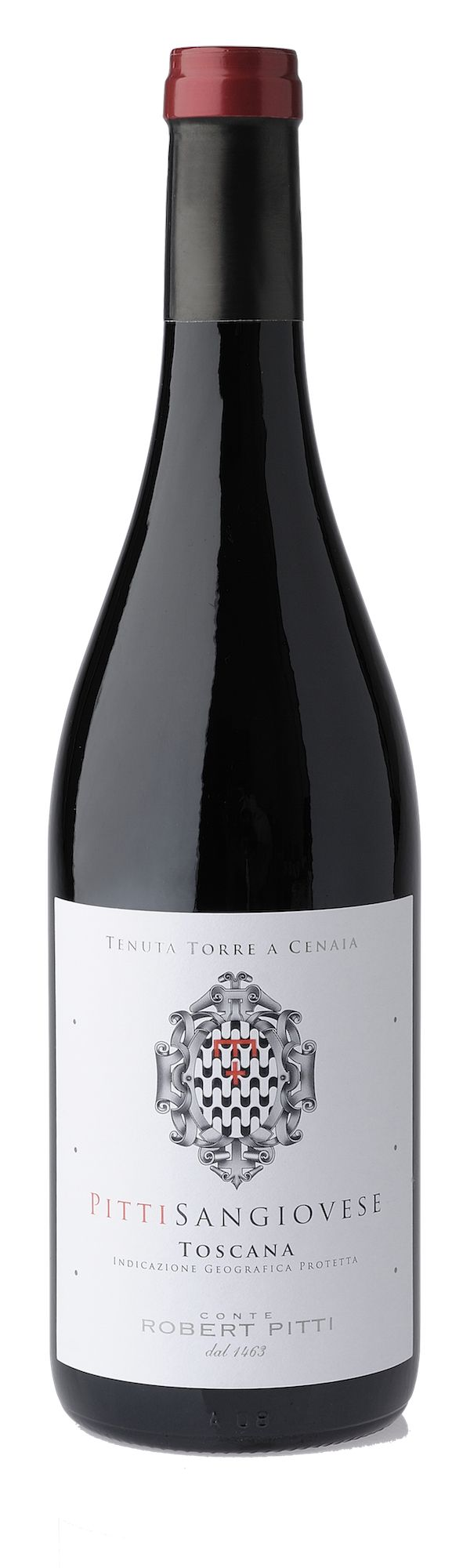 PITTI SANGIOVESE  A rigorous selection of grapes and a scrupulous vinification gives to this Sangiovese a ruby red colour and an harmonious and velvety taste with elegant tannins. Ideal as an aperitif, it pairs perfectly with roasted, grilled, red meats, fish.