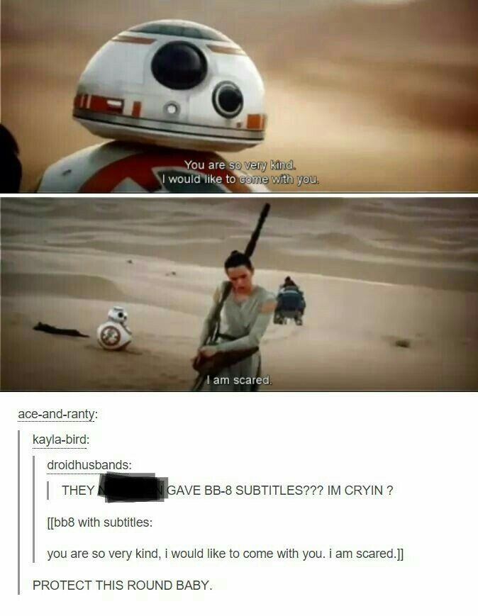 BB-8 subtitles! Dunno if this is real, but it's adorable! | Star Wars VII: The Force Awakens