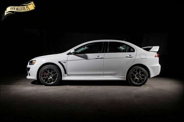 mitsubishi evo x wrapped in white gloss