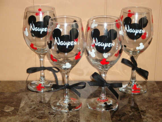 4 Mickey Mouse or Minnie Mouse themed wine by ChicExpressionCards, $32.00