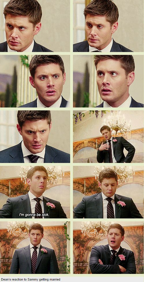 [GIFSET] 7x08 Time For A Wedding. His reaction is soooo priceless. He was expecting a hunt, something that would need killing. But nothing in the universe could have prepared him for his brother getting married. I love this part sooo much