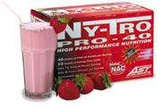 AST Sports Science AST Ny-Tro Pro-40 - 20 Sachets - Strawberry ich complex carbohydrates and virtually no fat or sugar. There are many benefits to this. http://www.comparestoreprices.co.uk/vitamins-and-supplements/ast-sports-science-ast-ny-tro-pro-40--20-sachets--strawberry.asp