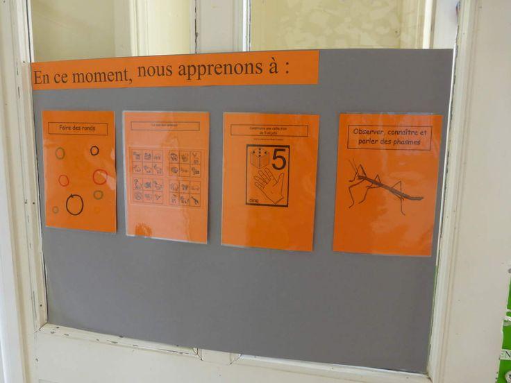 Pour plus de clarté dans les apprentissages et d'échanges avec les parents, Pour une ouverture de l'école aux parents, Pour comprendre qu'à la maternelle, on apprend, Voici mon affiche (évolutive) a l'entrée de la classe: