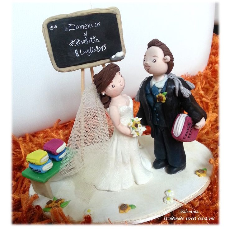Wedding Cake topper Matrimonio Insegnante Lettere Avvocato, by Valentina Handmadesweetcreations, 72,00 € su misshobby.com