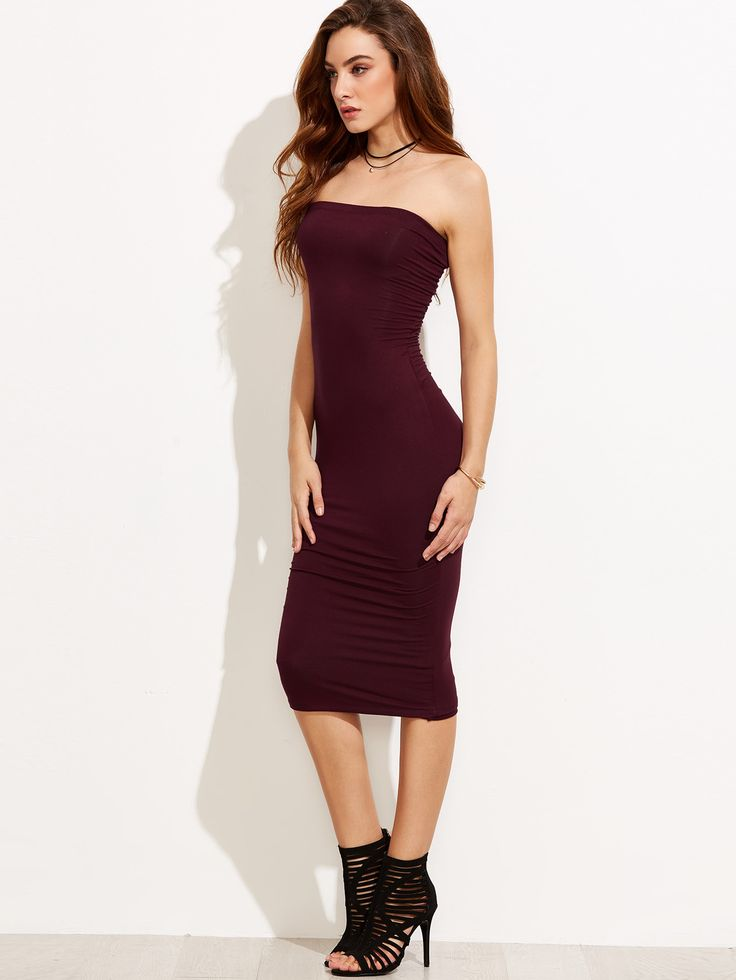 Shop Tube Sleeveless Sheath Midi Dress online. SheIn offers Tube Sleeveless Sheath Midi Dress & more to fit your fashionable needs.