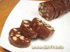 Шоколадная Колбаска 500 г песочного печенья 380 г сгущенного молока (не вареного) 200 г сливочного масла 5 ч.л. какао (порошка)