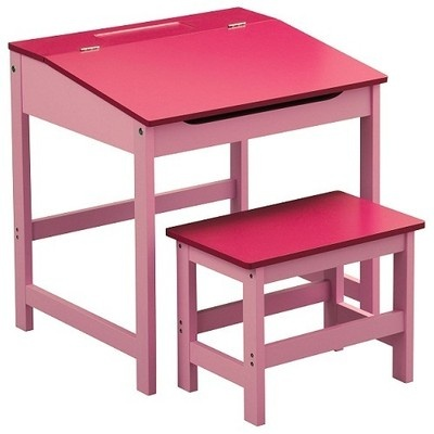 Childrens Desk And Stool Pink MDF For Children's Bedroom / Study Room Furniture