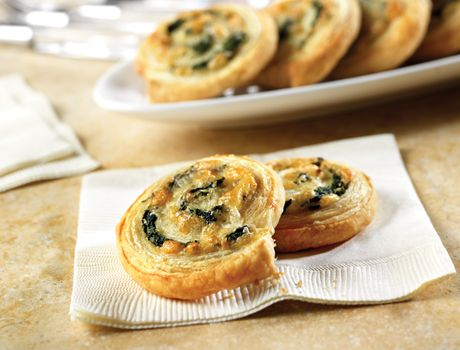 Spinach Cheese Spirals.  Planning the big feast, and of course the appetizers.