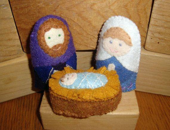 Felt Nativity Scene --  Handmade Plush by MockingbirdWorkshop on Etsy