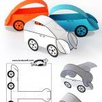 no glue cars, paper template to colour and cut out to make 3D cars - how neat for the letter C