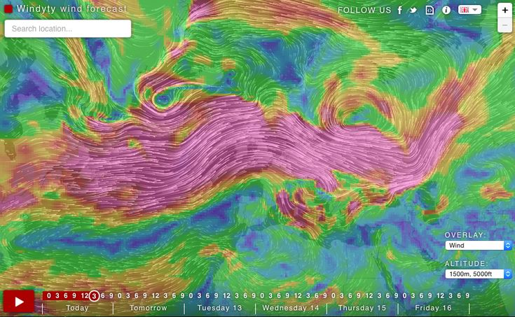 Windyty – weather forecast map reinvented.  Check out this fabulous new forecast interface.