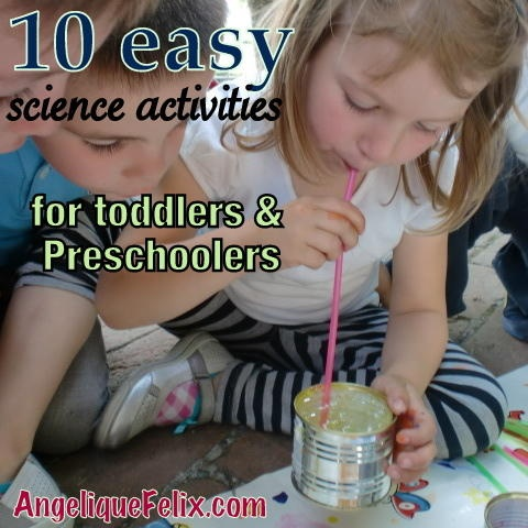 10 easy #science activities for toddlers and #preschoolers. With videos showing the result of some of the #experiments! @ http://AngeliqueFelix.com