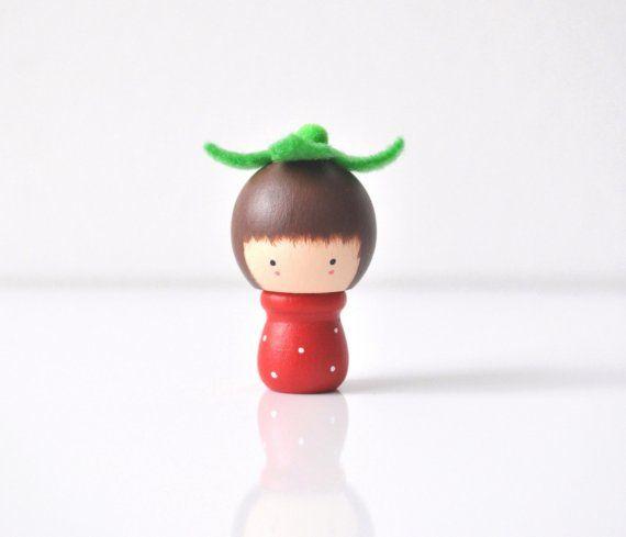 Little Miss Strawberry  Wooden Friend by TheCupcakeGirls on Etsy, $10.00