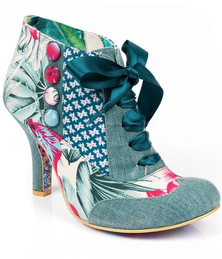 IRREGULAR CHOICE Blair Elfglow Patchwork Heels in Green/White