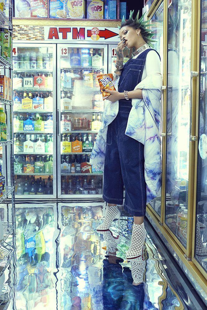 Rihanna Paper magazine march 2017 Acne Studios denim overalls, tie dye jacket, Christian Louboutin Andaloulou boots, Ambush chain choker and bracelets
