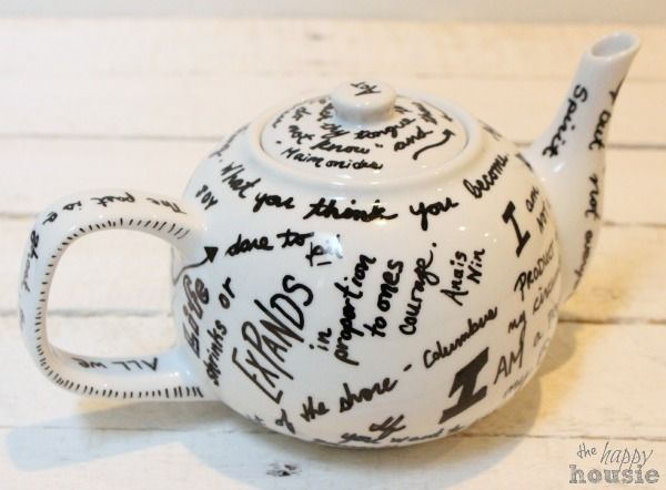 DIY Oil Sharpie Quote Tea Pot {Gift Idea} - Want a customized gift for Mother's Day - how about a DIY {oil} sharpie quote tea pot... pick your favourite (or Mom…