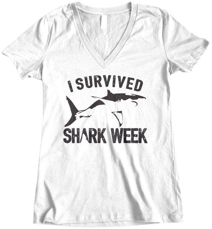 I Survived Shark Week, Womens t shirt, V neck tee shirt, Shark Week, Custom Printed Tee by TheCozyBear on Etsy https://www.etsy.com/listing/239969596/i-survived-shark-week-womens-t-shirt-v
