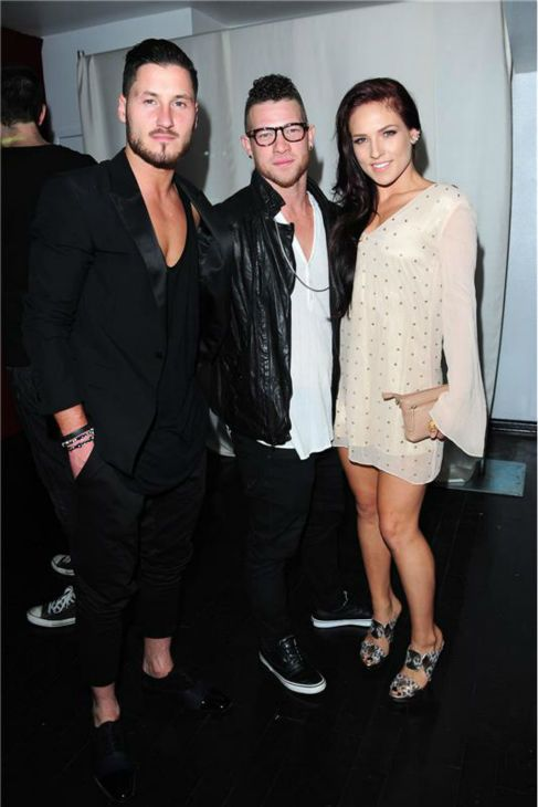 Val with co-star Sharna Burgess and her boyfriend, Paul Kirkland at VALENTIN launch party