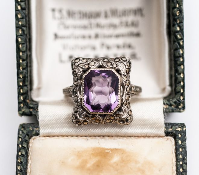 1920s 10K White Gold Amethyst & Marcasite Ring