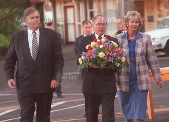 Federal Labor Opposition leader Kim Beazley, Prime Minister John Howard, and Democrats leader Cheryl Kernot at Port Arthur, Tasmania, to commemorate the 35 victims of the Port Arthur massacre, 1 May 1996. SMH Picture by DALLAS KILPONEN