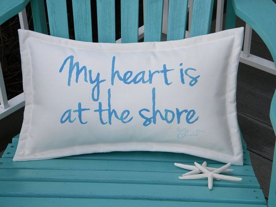 my heart is at the shore indoor outdoor pillow blue by crabbychris 3800 - Beach Decorations