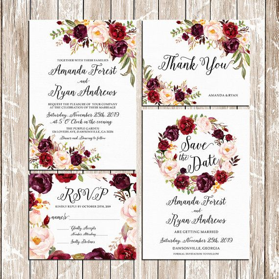 Printable Wedding Burgundy Purple and Pink Invitation set Boho floral Wedding Invites DIY Bohemian Fall Winter Wedding - BPF-23