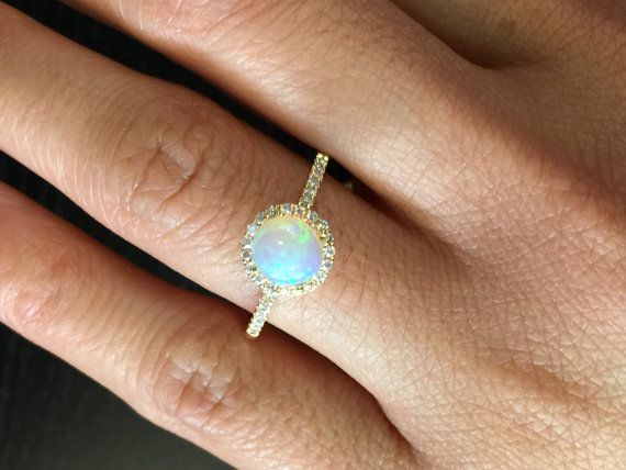 14k White Gold Diamond Halo Round Fire Opal Engagement Ring Anniversary