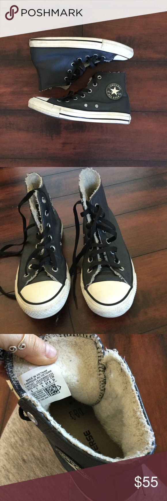 Leather Converse Leather Converse. Great condition. Inside has a warm fuzzy shearling type lining. Very comfy and warm. Converse Shoes Sneakers