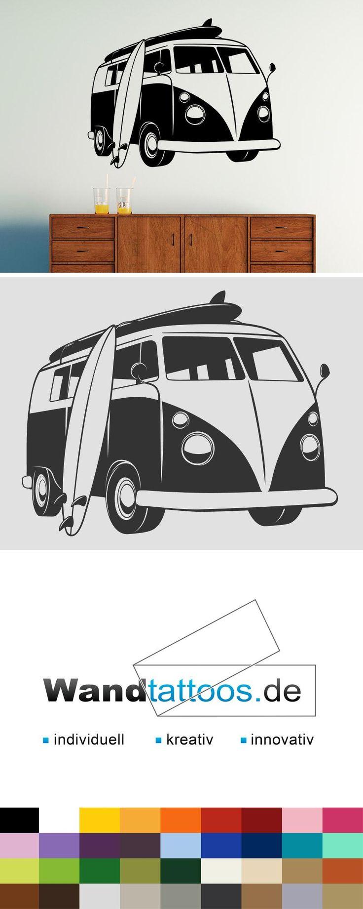 Wandtattoo Surfer Bus als Idee zur individuellen Wandgestaltung. Einfach Lieblingsfarbe und Größe auswählen. Weitere kreative Anregungen von Wandtattoos.de hier entdecken!