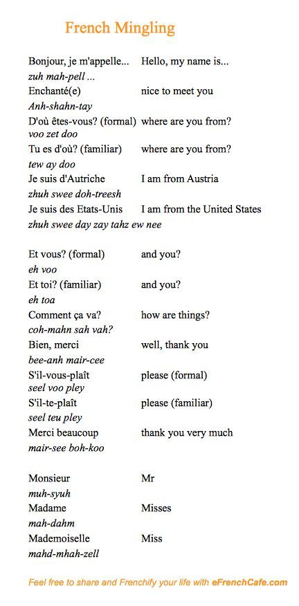 A few French phrases to use when meeting people.
