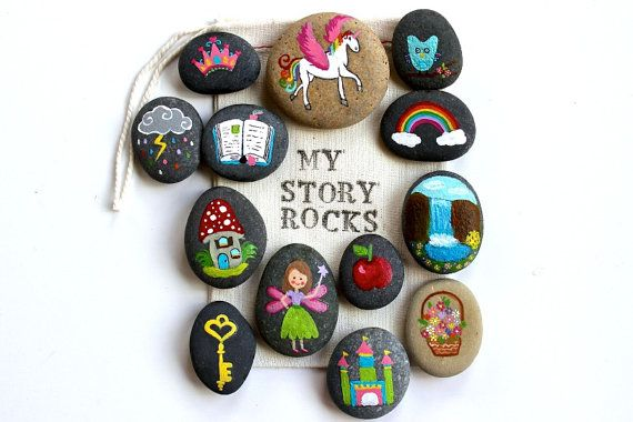 Story Stones and Painted Rocks / Fairy and Unicorn Magical Garden, Princess Castle Game and Toy