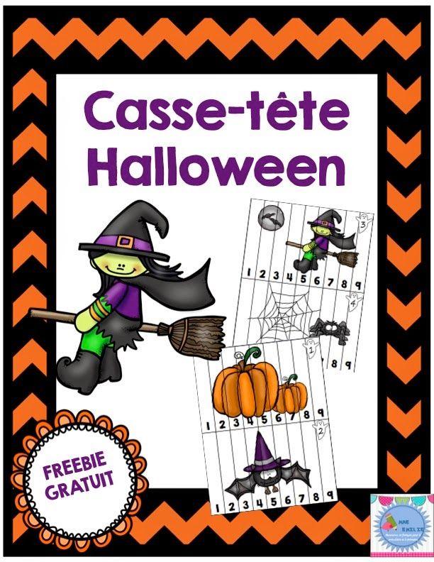 Cette semaine, mon produit gratuit est un ensemble de 8 casse-tête d'Halloween. Les élèves doivent replacer les morceaux en ordre croissa...
