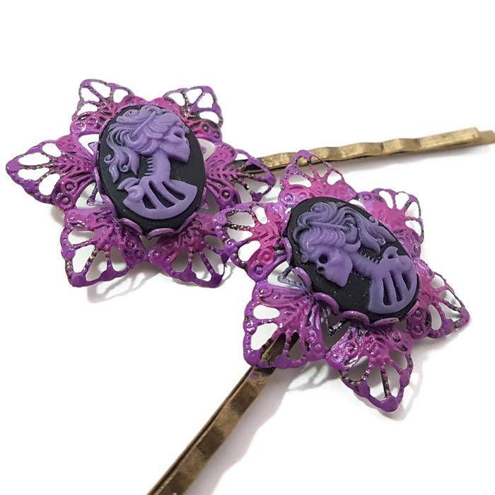 Skull Bobby Pin-Set of 2-Skeleton Cameo-Hair Slides-Purple Hair Pins-Gothic Lolita-Hair Pins-Fashion accessory-Mourning Hair pins-Flower