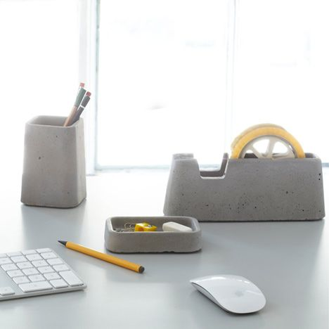 Magnus Pettersen for Areaware. concrete desk set. tape dispenser. tray. pen pot. http://www.magnuspettersen.com  http://www.areaware.com