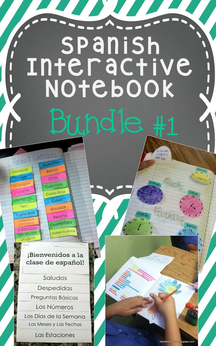 Spanish interactive notebook resource bundle: includes Spanish basics, subject pronouns, ser, regular present tense verbs, time, descriptive adjectives, and Spanish speaking countries and capitals.