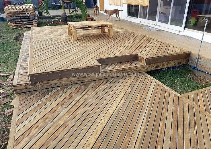 137 best outdoor pallets images on pinterest furniture for Garden decking from pallets